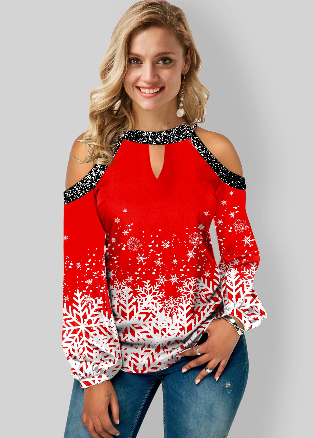 Snowflake Print Sequin Detail Cold Shoulder Blouse