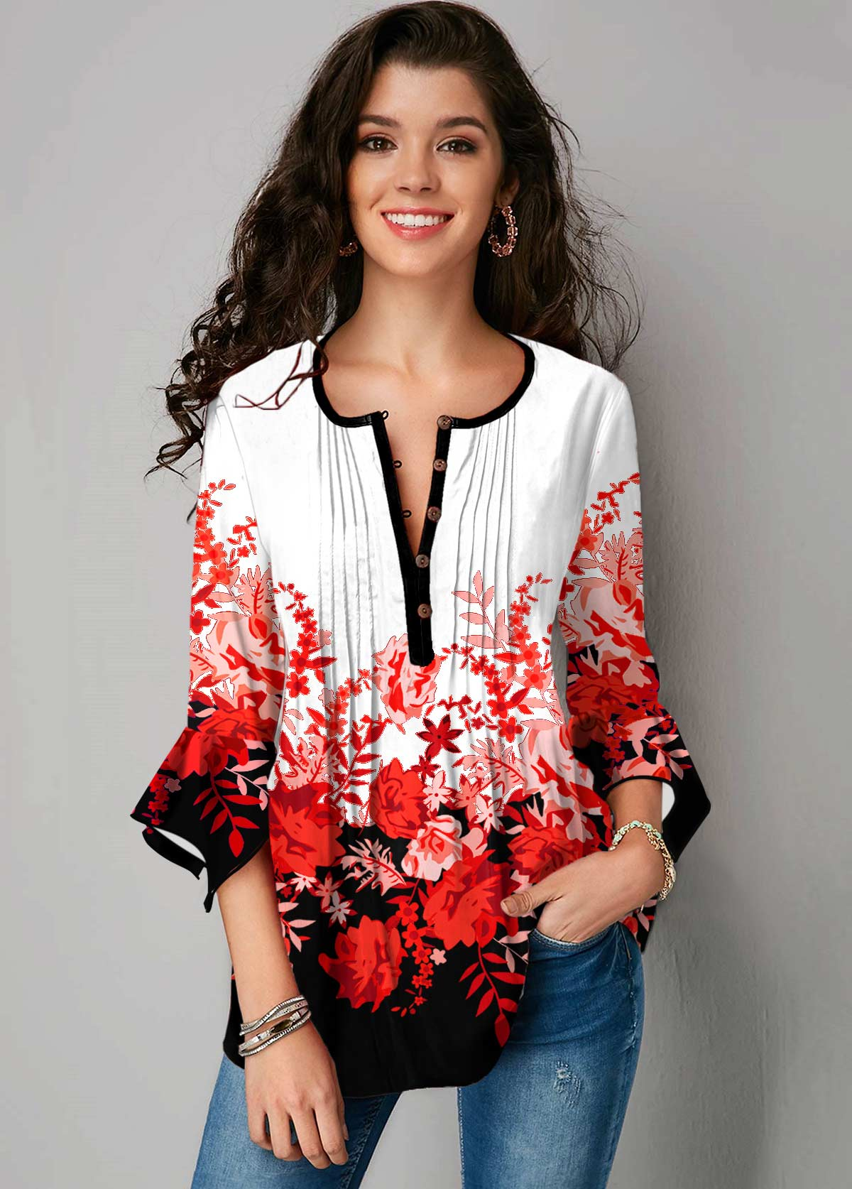 Floral Print Hanky Cuff Crinkle Chest Blouse