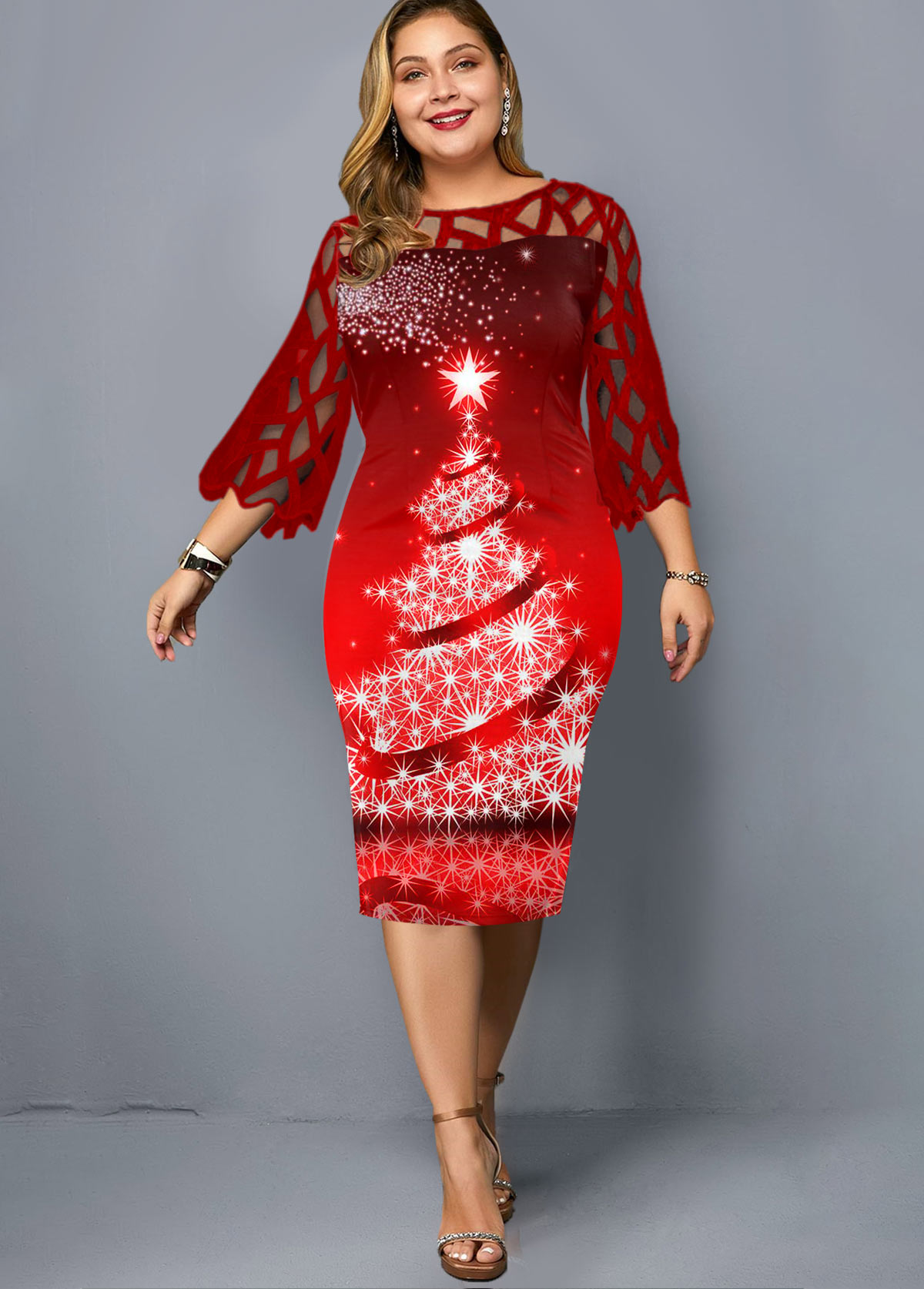 Plus Size Lace Panel Christmas Print Dress