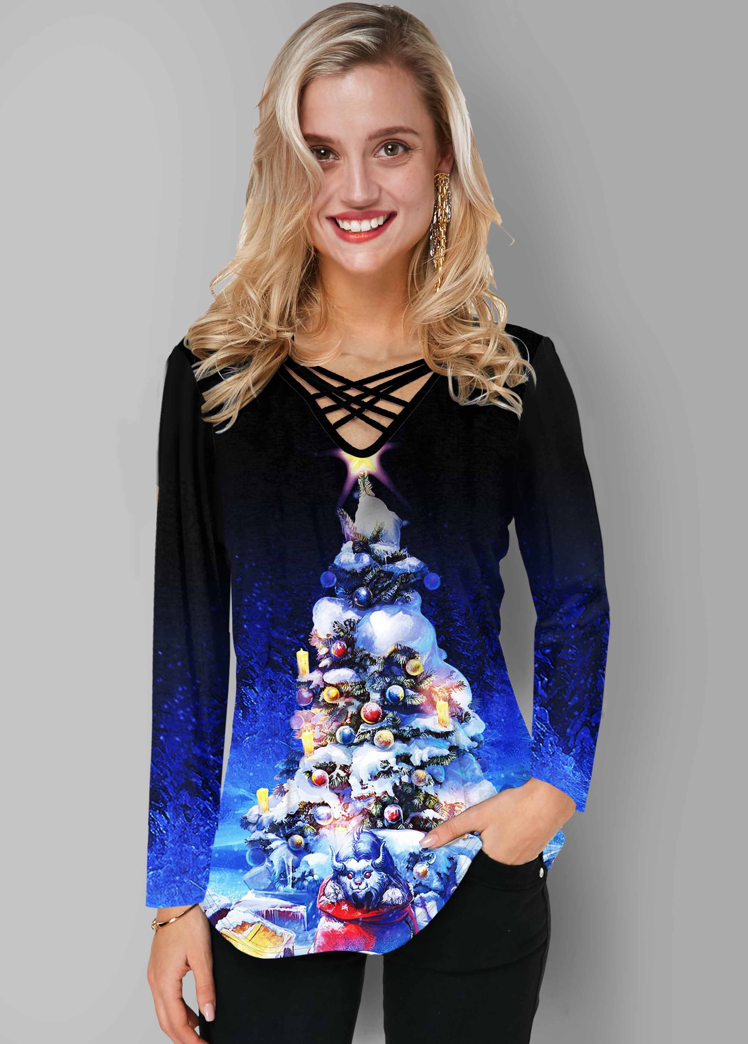 Christmas Print Long Sleeve Strappy Neck T Shirt