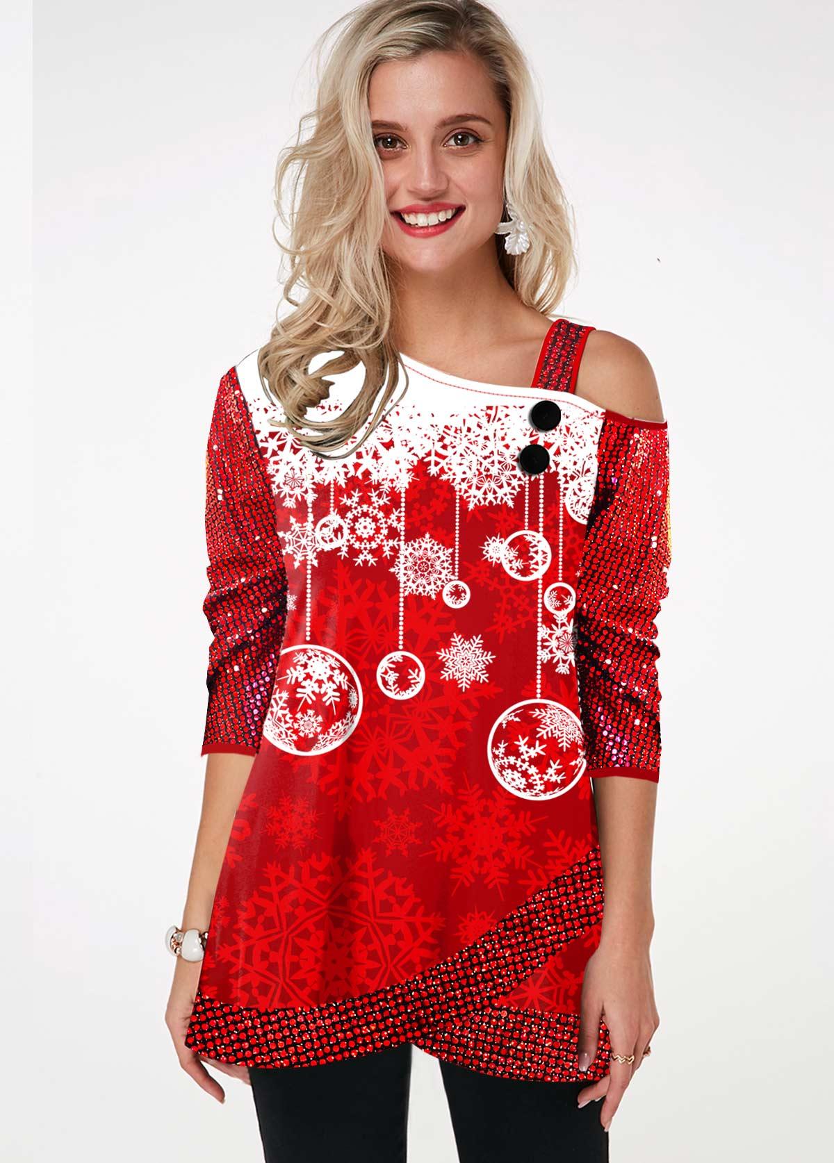 Sequin Sleeve Snowflake Print Cold Shoulder T Shirt
