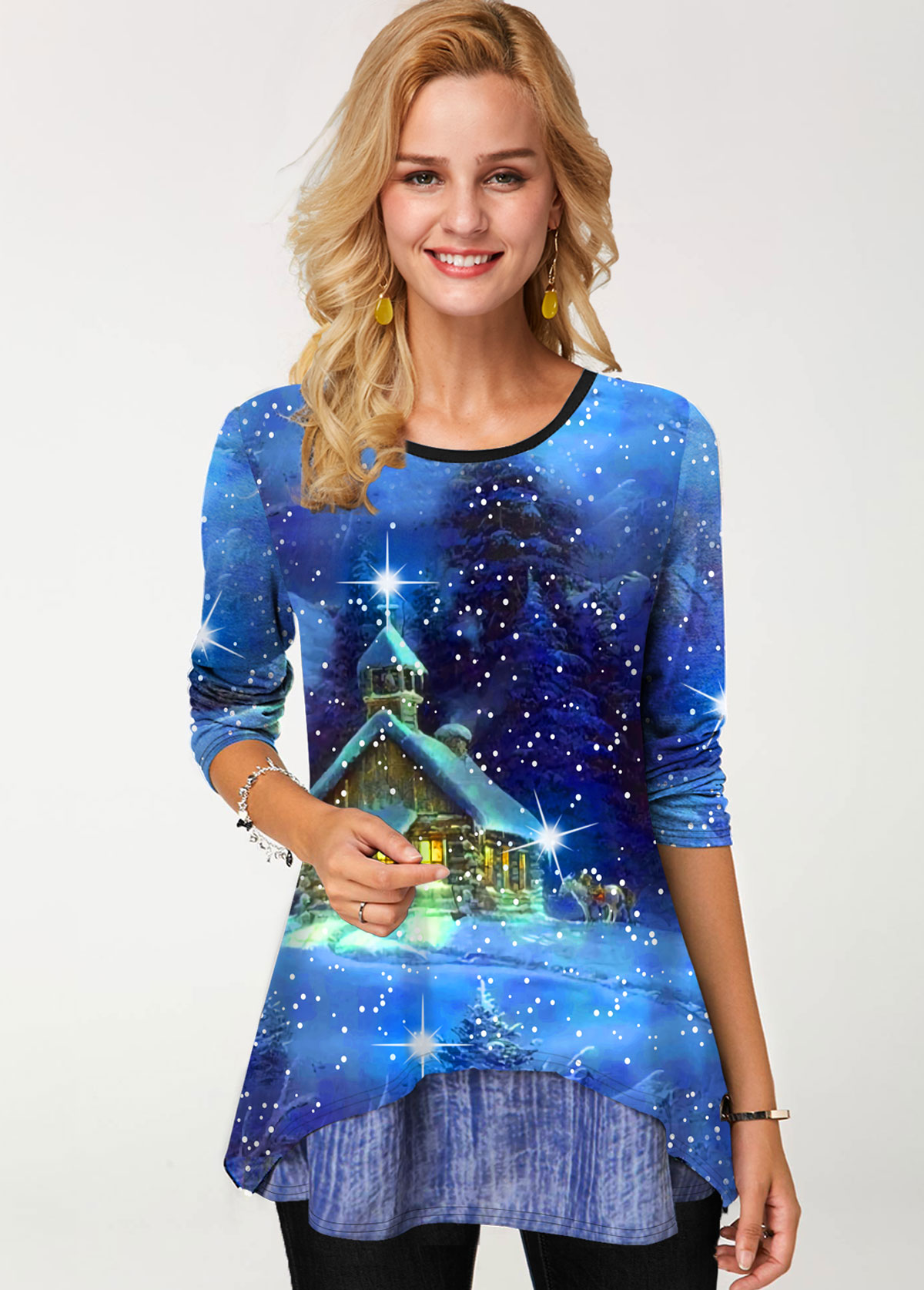 Scape Print Round Neck Long Sleeve T Shirt