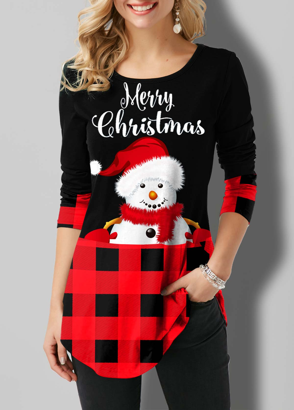 Plaid and Snowman Print Round Neck T Shirt