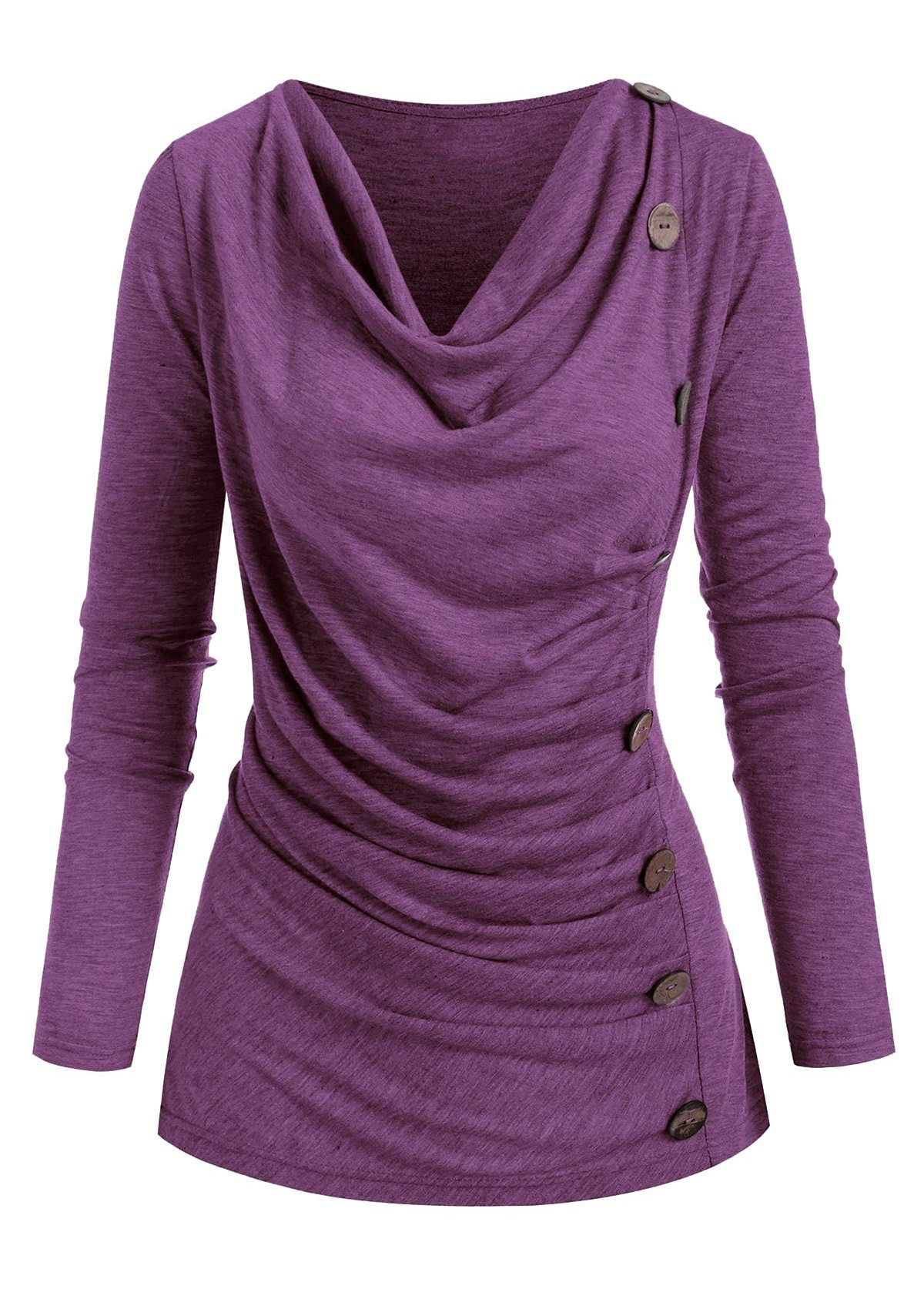 Cowl Neck Button Detail Ruched T Shirt
