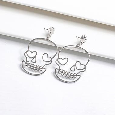Pierced Skull Design Silver Metal Earring Set