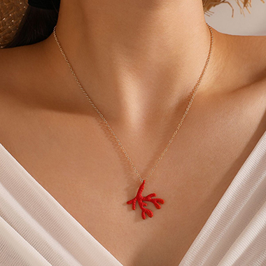 Coral Pendant Red Metal Chain Necklace