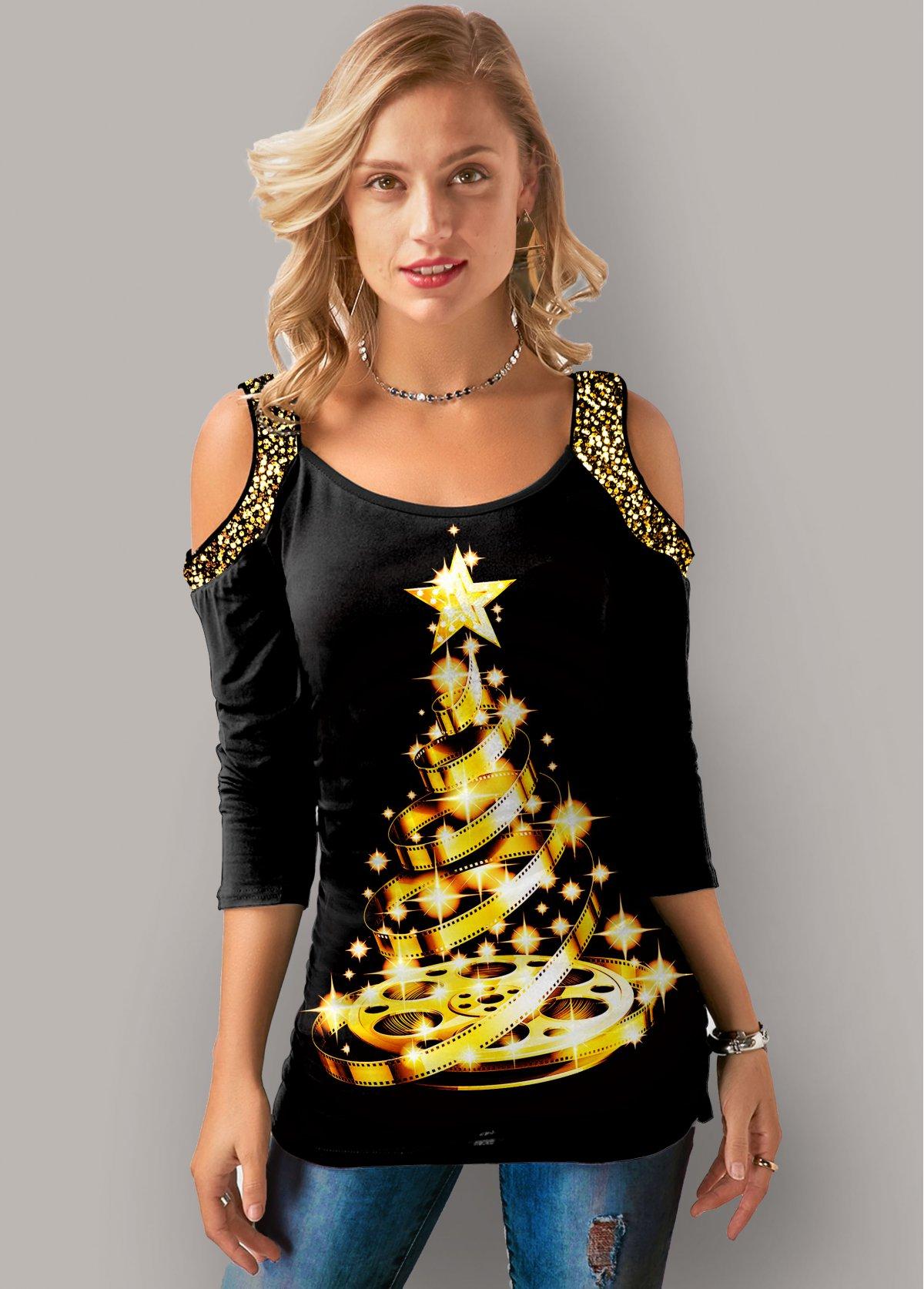 Cold Shoulder Christmas Print Sequin Detail T Shirt