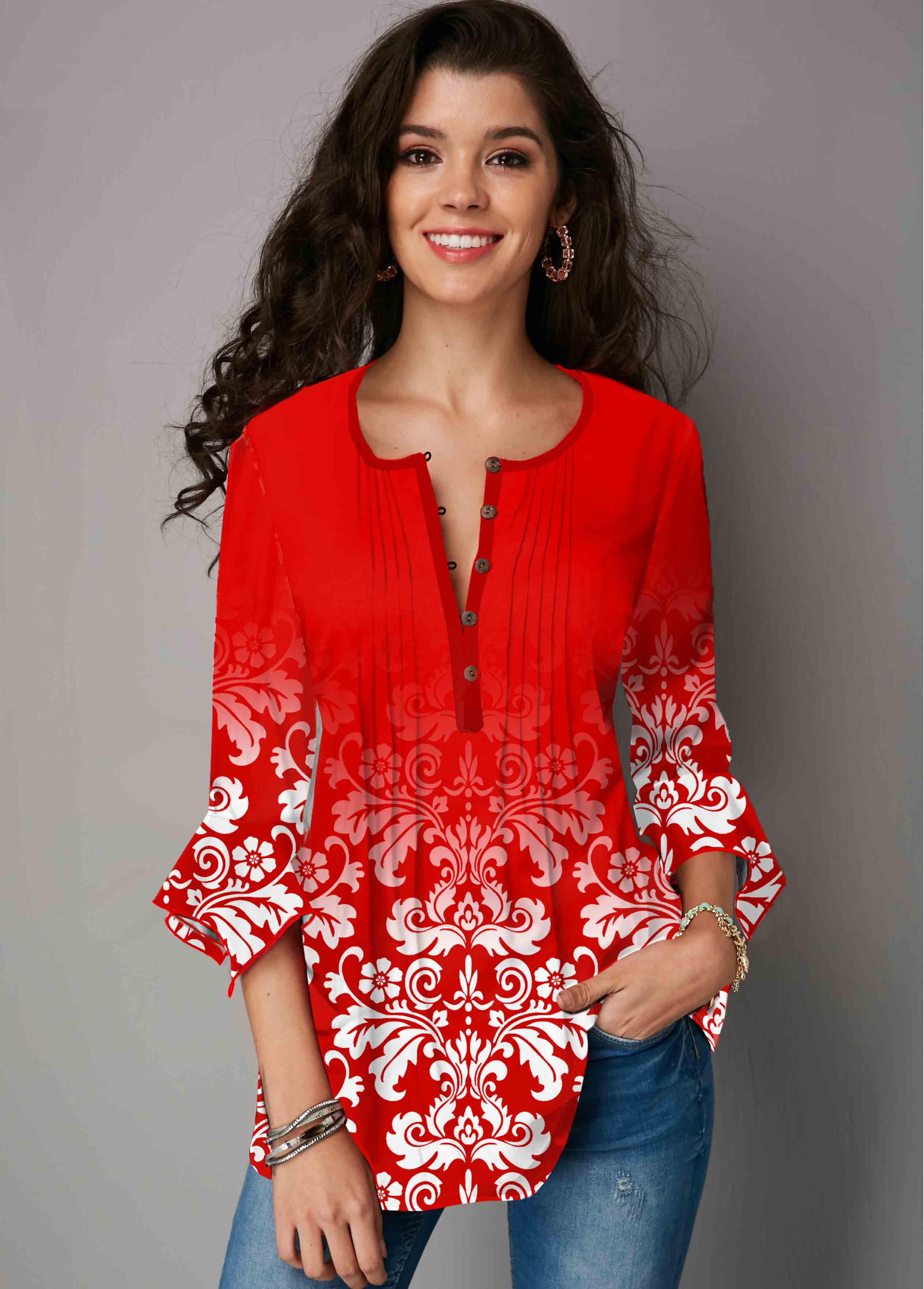 Tribal Print Hanky Cuff Crinkle Chest Blouse