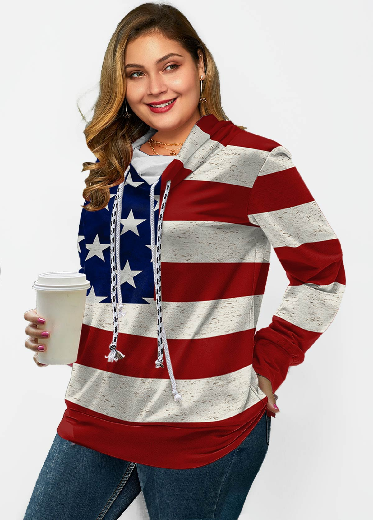 American Flag Print Drawstring Long Sleeve Sweatshirt