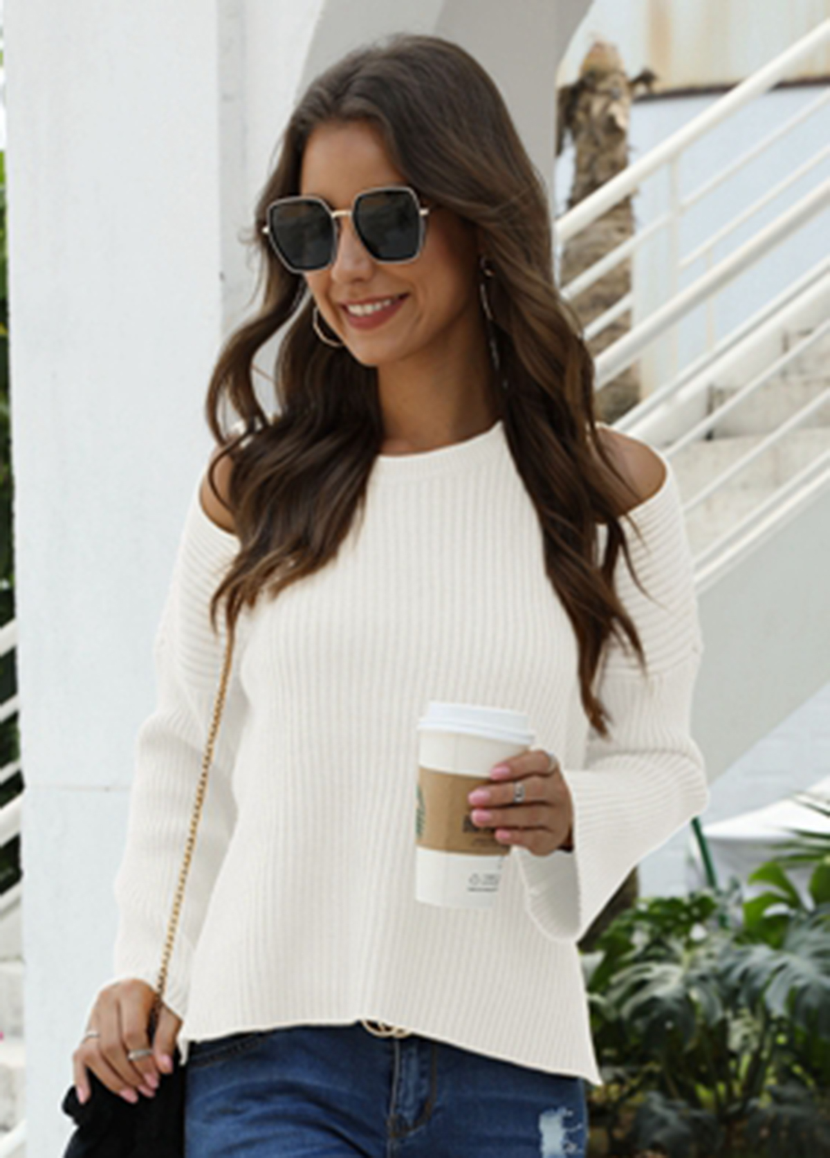 Cold Shoulder Long Sleeve Round Neck Sweater
