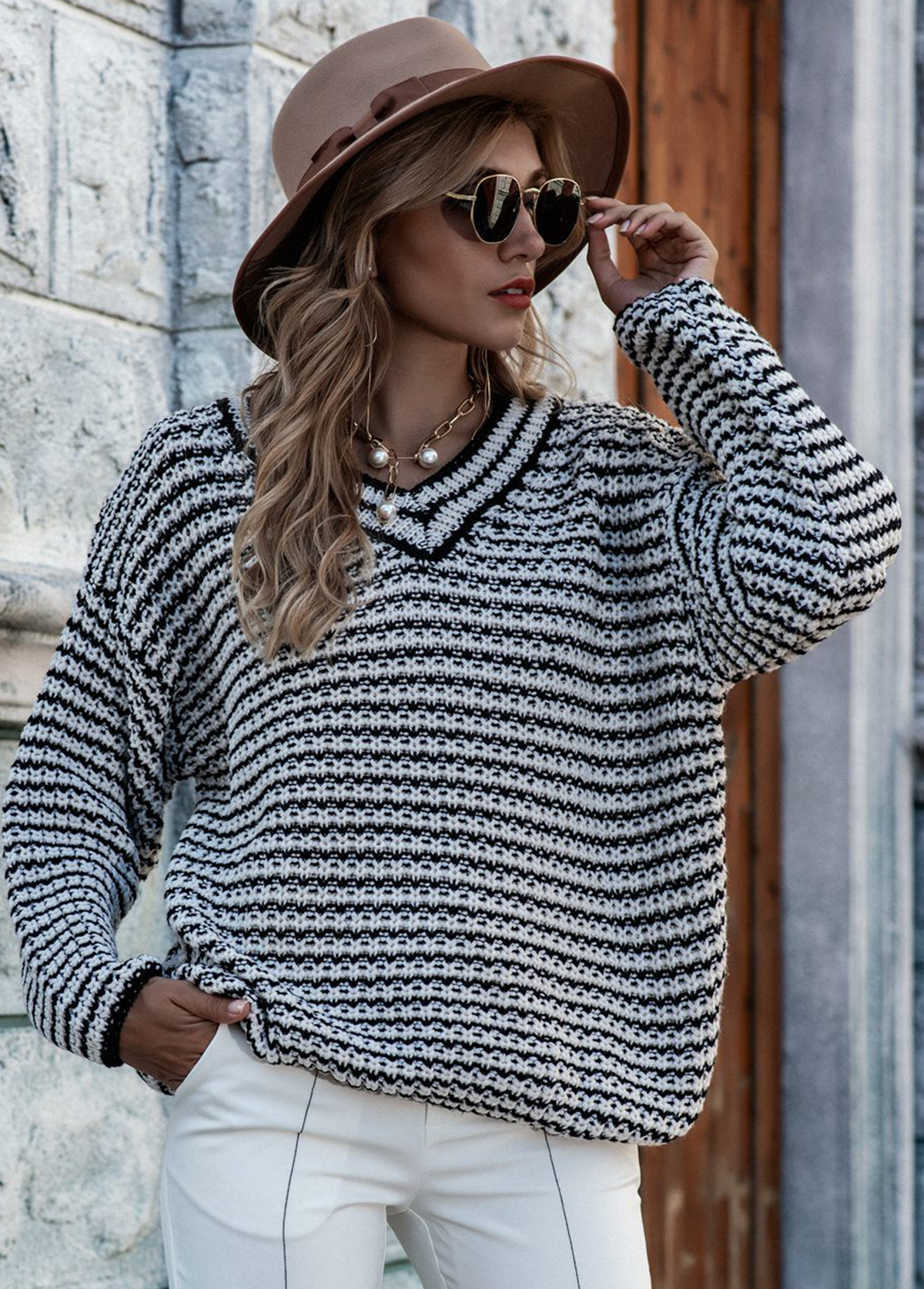 Striped V Neck Long Sleeve Sweater