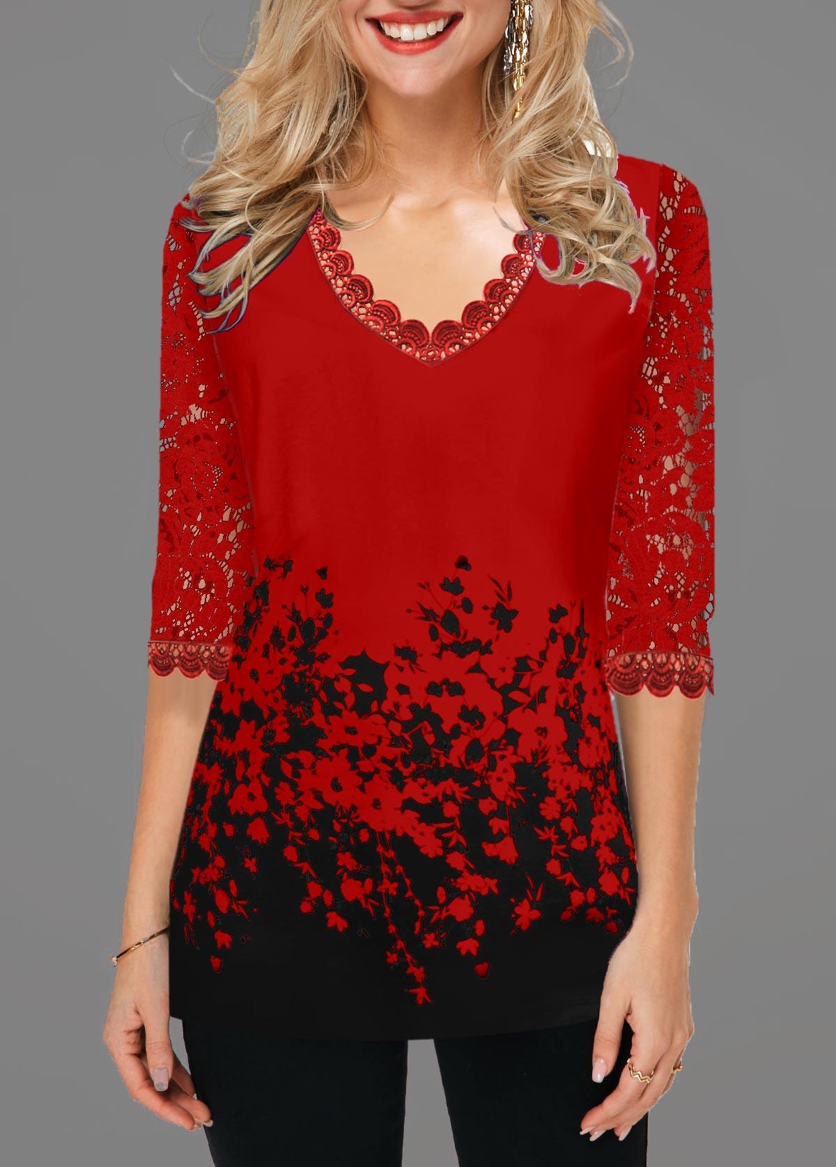 Lace Panel Floral Print V Neck T Shirt