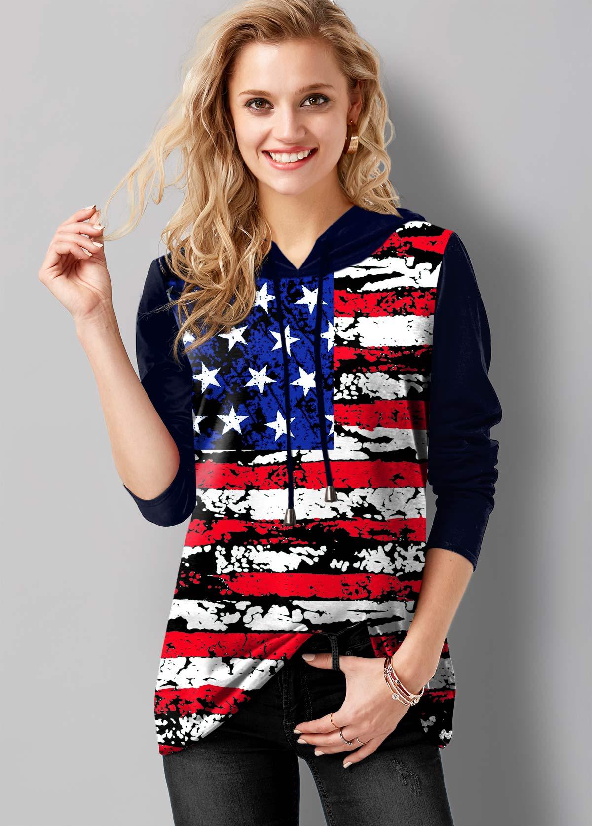 American Flag Print Long Sleeve Drawstring Tunic Top