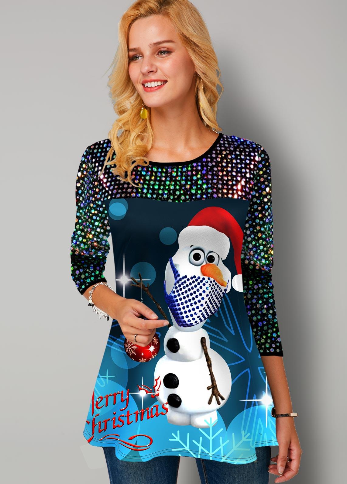 Christmas Print Sequin Panel Long Sleeve T Shirt