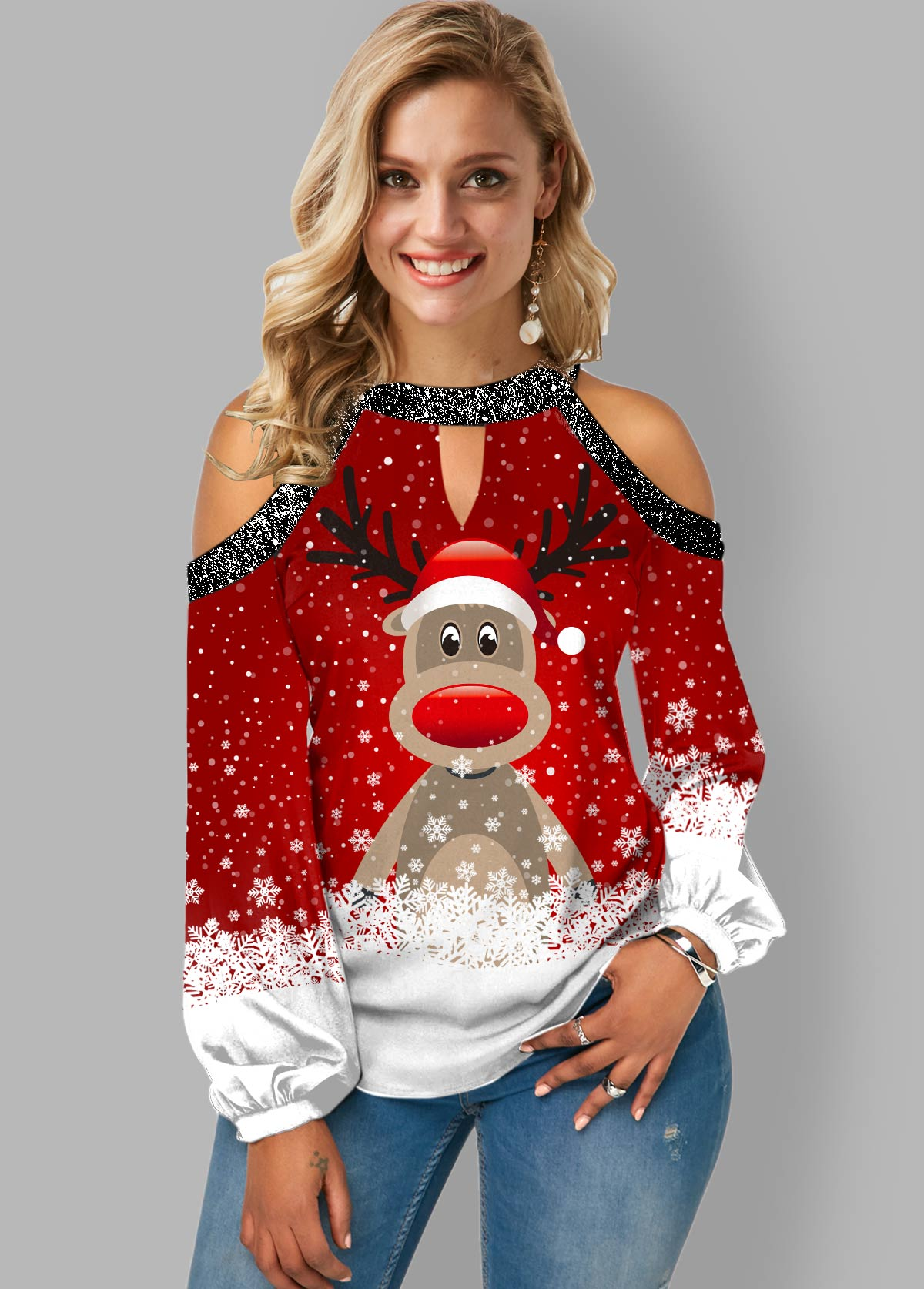 Christmas Print Cold Shoulder Sequin Contrast Blouse