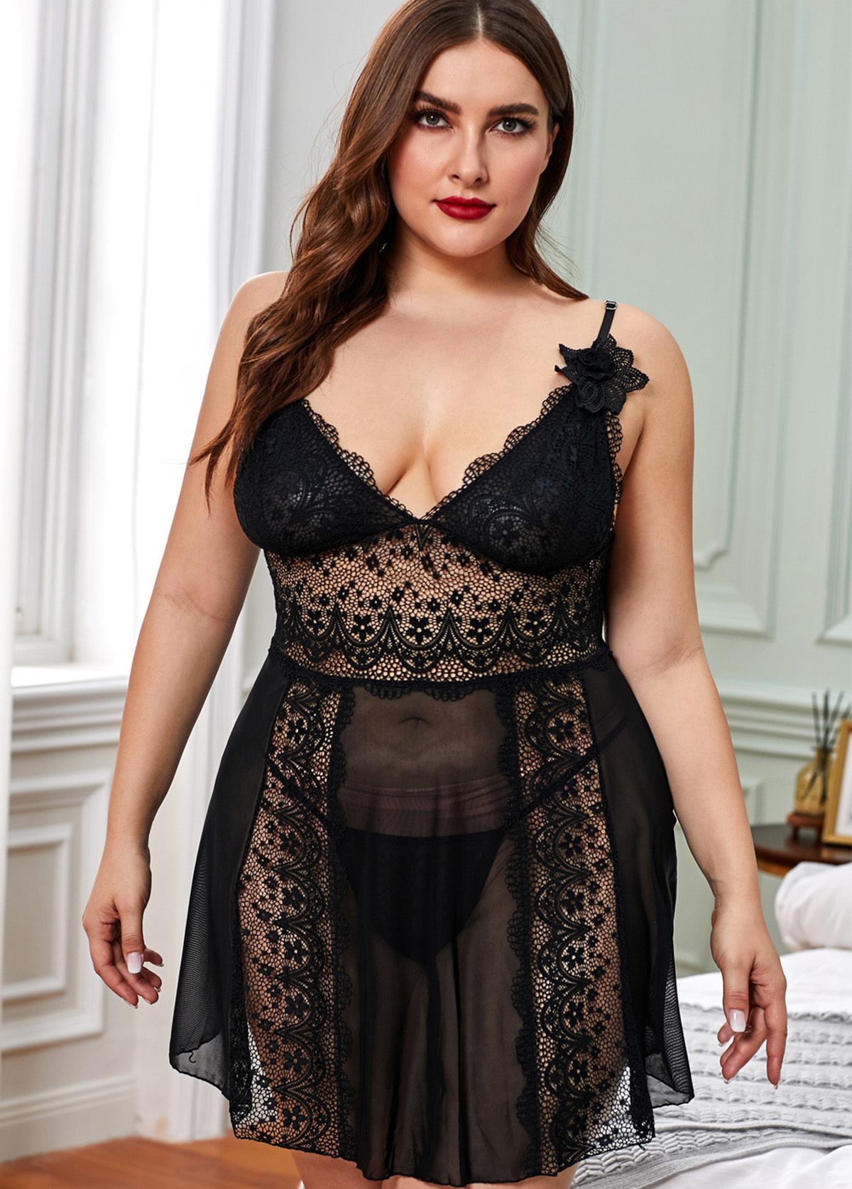 Lace Panel Black Plus Size Babydolls and T-back