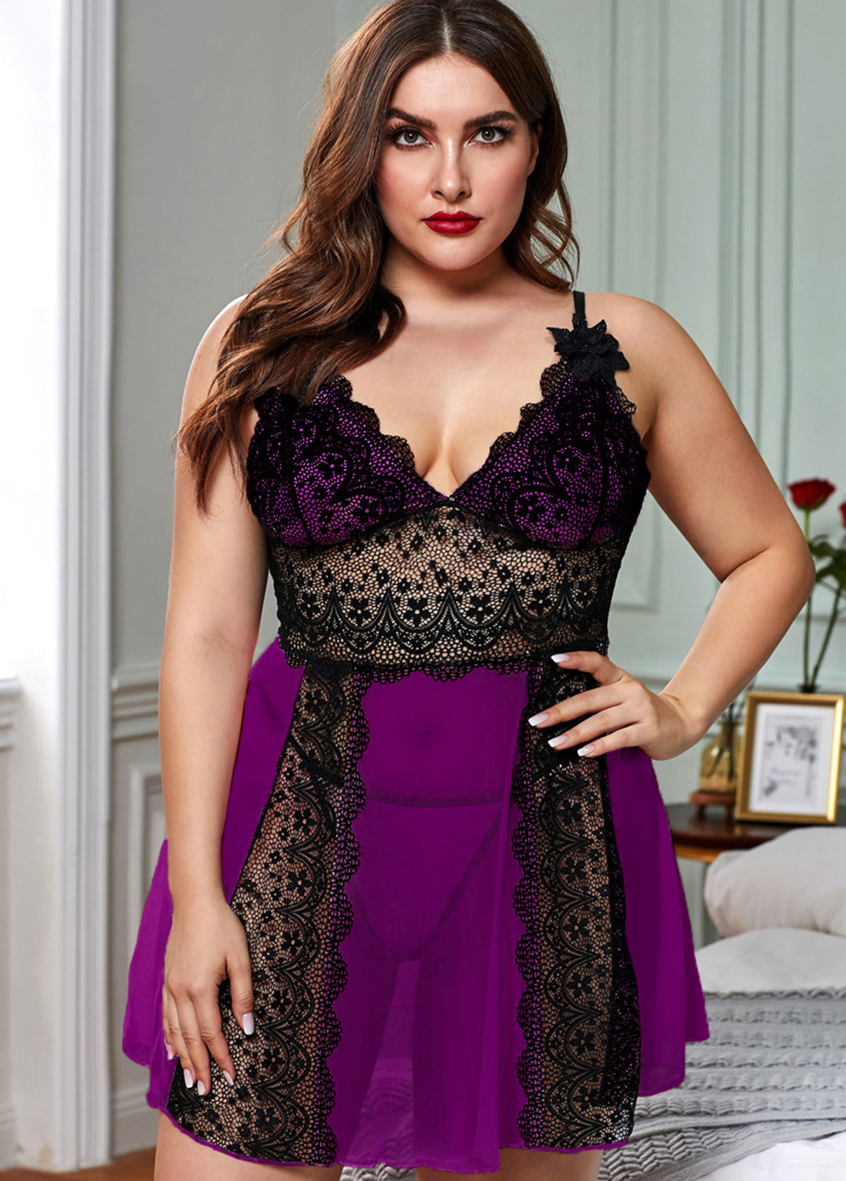 Plus Size Lace Panel Color Block Babydolls and T-back