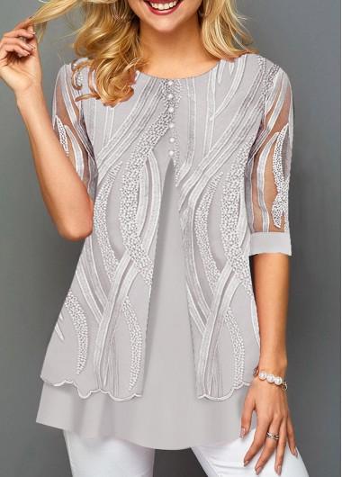 Layered Hem Lace Panel Round Neck T Shirt - L