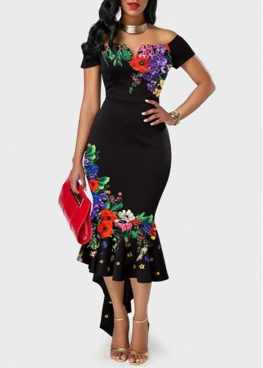 Floral Print Off the Shoulder Mermaid Dress - L