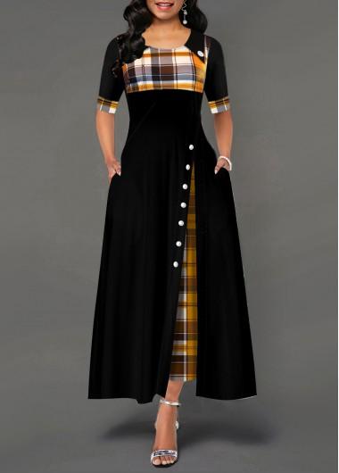 Pocket Plaid Print Inclined Button Dress