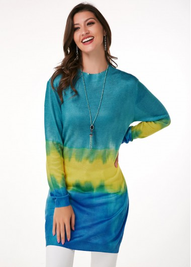 Tie Dye Print Long Sleeve Round Neck Sweater - L