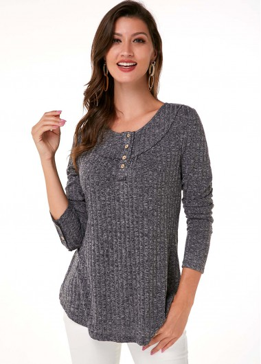 Button Detail Long Sleeve Round Neck T Shirt - M