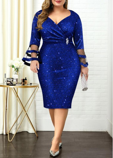 Plus Size Flare Sleeve Hot Stamping Dress - 1X