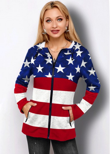 American Flag Print Side Pocket Zipper Closure Hoodie - L
