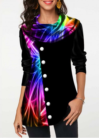 Rainbow Color Inclined Button Printed T Shirt - L