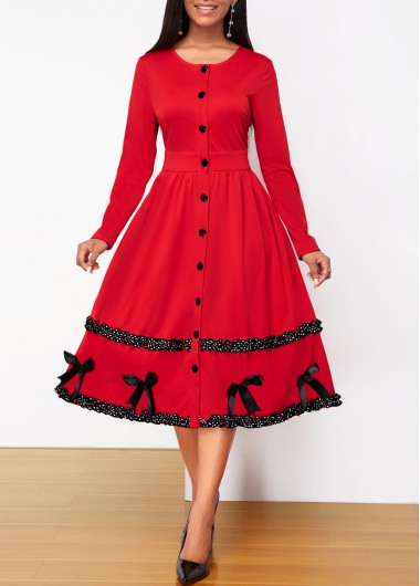 Christmas Holiday Dress Button Up Bowknot Detail Contrast Piping Dress - L