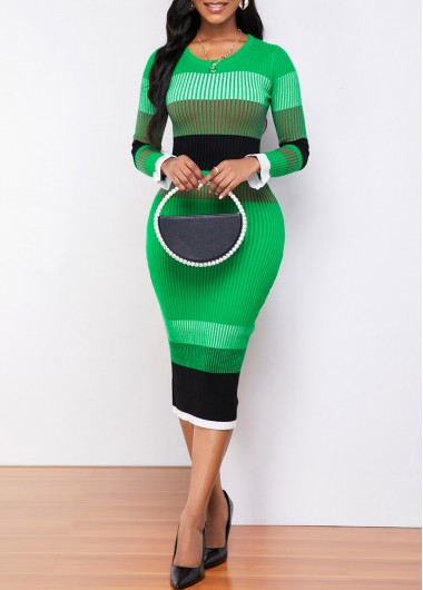 Color Striped Round Neck Long Sleeve Sweater Dress - M