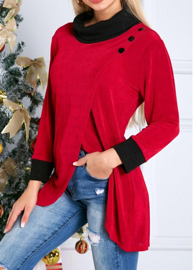 Crossover Hem Turtleneck Long Sleeve Tunic Top - L