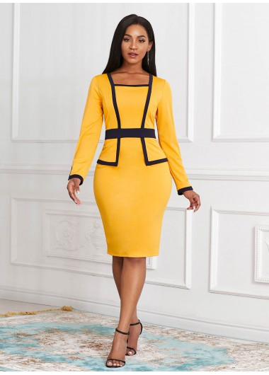 Contrast Long Sleeve Faux Two Piece Dress - L