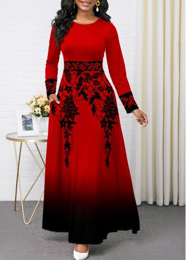 Christmas Holiday Dress Printed Ombre Round Neck Pocket Maxi Dress - L