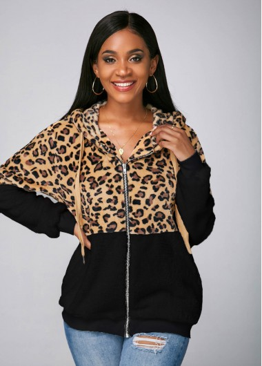 Leopard Zipper Closure Pocket Hooded Collar Jacket - L