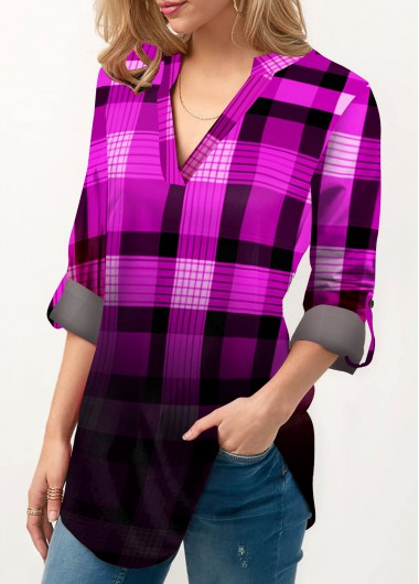 Ombre Plaid Print Roll Tab Sleeve Blouse - M