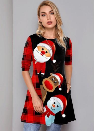 Plaid and Santa Claus Print Pocket T Shirt - M