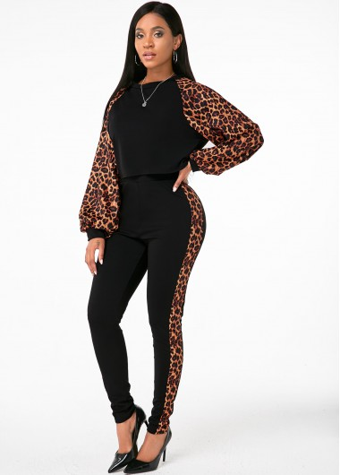 Leopard Long Sleeve Round Neck Top and Pants - L