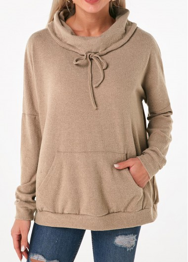 Drawstring Neck Long Sleeve Cashmere Sweatshirt - L