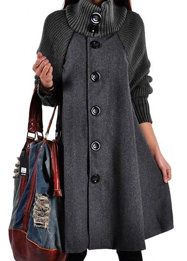 Turtleneck Button Up Long Sleeve Coat - L
