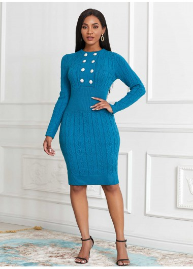 Double Breasted Long Sleeve Sweater Dress - L