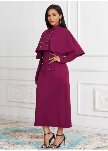 Cape and Button Front Long Sleeve Dress - M