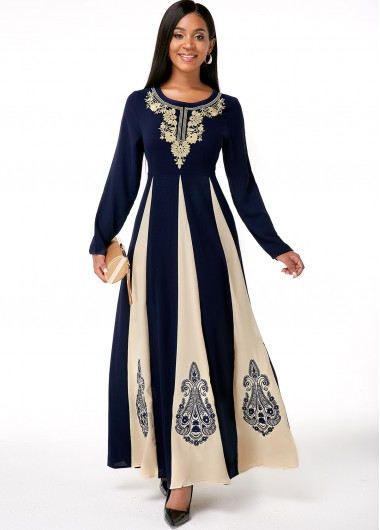 Embroidered Contrast Round Neck Long Sleeve Dress - L