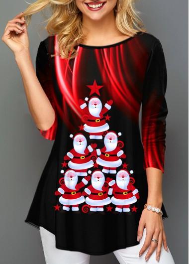 Santa Claus Print Round Neck Long Sleeve T Shirt - L