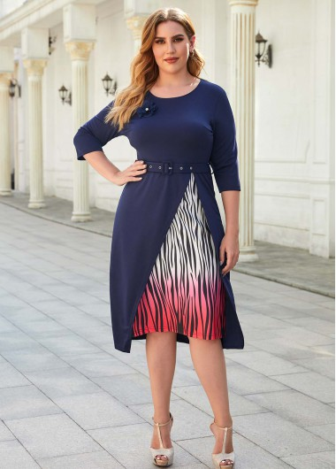 Plus Size Printed Buckle Belted Dress - 2XL