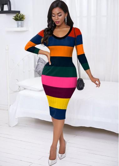 Rainbow Stripe Back Slit Sweater Dress - L