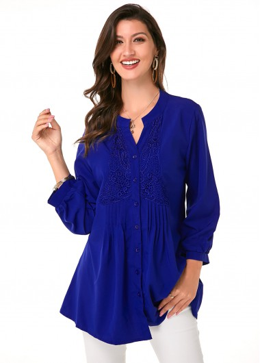 Lace Panel Button Up Crinkled Blouse - L
