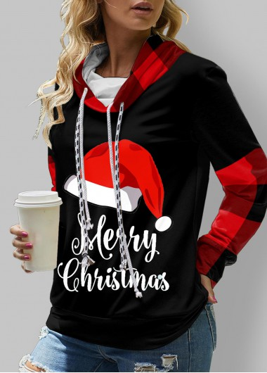 Christmas Print Cowl Neck Long Sleeve Sweatshirt - L