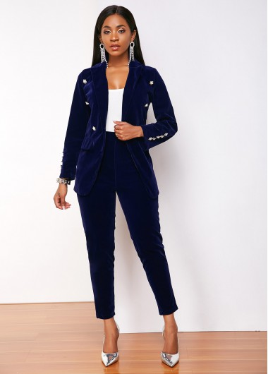Notch Collar Blazer and Navy Blue Pant - L