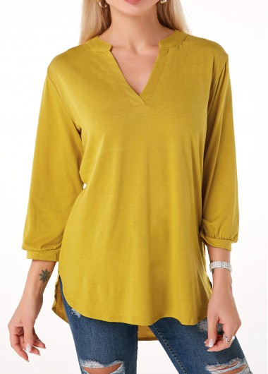 Split Neck Dip Hem Three Quarter Sleeve T Shirt - M